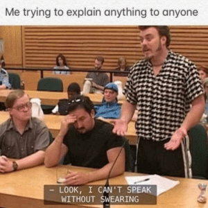 meirl: Me trying to explain anything to anyone  LOOK, I CAN'T SPEAK  WITHOUT SWEARING meirl