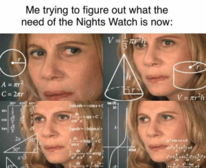 Best Game of Thrones Memes That Are Hilarious (48 Pics)-13: Me trying to figure out what the  need of the Nights Watch is now:  V=rh  $3  A= Tr  C 2tr  V= r h  30° 45 60  tan (8)  10  Isin xdx-cosx+C  sin  de  +x0  tgxdxIn/cos.x+  Cos  COS  tan  de  2x  60  Intg C  sin x  +bx+e0  30%  efrad  dx  arctg  dx  019 3 Best Game of Thrones Memes That Are Hilarious (48 Pics)-13
