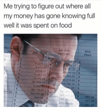 Facts, Food, and Memes: Me trying to figure out where all  my money has gone knowing full  well it was spent on food  IS  A/R MTD  DEPOSIT  MTD  FEES  AAR  o0  11.37175 s  3.75  6,810.00  2.558.07 S  6g 1.49 !  5,432.52 $  85,756.29 $  91.76 S  49.82S  25.541.31 S  0,973 83 $  16,730.12 S  1,09 $  8,550  62.109 25 $  54,102.0D S  182  241 4923$ 541.02  242, 162 32  253,66064 541.02  41.02$  889.08 S  478.32S  56.12S  541.02 Facts! Smh! https://t.co/uAUvng7pGy