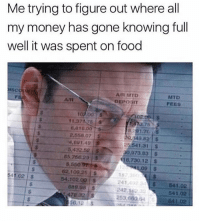Food, Memes, and Money: Me trying to figure out where all  my money has gone knowing full  well it was spent on food  is  MTD  FEES  VR  o2.00  £473.75  1371478s  6,810.0D  949.82 5  25.541.31 $  0,973.83$  16,730.12 S  1,09S  2.558.07 S  4691.49  5,432.52 S  65,76629 $  8,550 076  62.109.25$  187  241 492 3S 541.02  242.162A  253,660,64 541.02  41.02 S  54.102.00 S  889.08S  478 32S  56.12S  541.02 🚨 WARNING 🚨 DO NOT FOLLOW @donut IF YOU ARE EASILY OFFENDED 😤💀