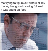 Anaconda, Food, and Money: Me trying to figure out where all my  money has gone knowing full well  it was spent on food  MTD  FEES  AR MTD  Um  11.371.28  6,010.00  751  2.858.07 S  5,43252 s  85,766.29 S  541.31  0,973 83 $  16,730,12 S  8.550  L,09 $  62.100.25 $  54.102 00 S  18  241  242.1  253,660 6  41.02  541.02  541.02  541.02  89.08LS  56.12 S