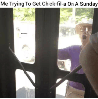 Chick-Fil-A, Funny, and Lmao: Me Trying To Get Chick-fil-a On A Sunday  #hood clips Lmao mood😂😂😂💰🙏