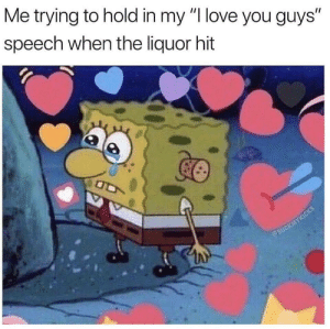 """Me_irl: Me trying to hold in my """"I love you guys""""  speech when the liquor hit Me_irl"""