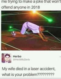 What Is, Wife, and Nice: me trying to make a joke that wont  offend anyone in 2018  Herbo  @HerbMcDerb  My wife died in a laser accident,  what is your problem???????? bUt ItS nOt ThAt HaRd To bE nIcE!