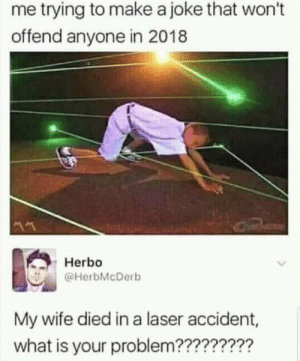 Dank, Memes, and Target: me trying to make a joke that won't  offend anyone in 2018  Herbo  @HerbMcDerb  My wife died in a laser accident,  what is your problem????????? Wtf is a Laser Accident by fatehpuria92 FOLLOW HERE 4 MORE MEMES.