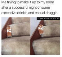 Girl Memes, Make, and Room: Me trying to make it up to my room  after a successful night of some  excessive drinkin and casual druggin  IG @HOEGIVESNOFUCKS Literally trying with alllll my might ( @1foxybitch )