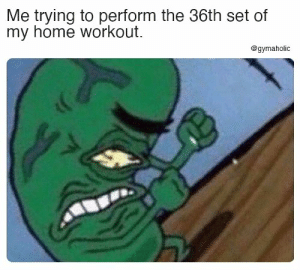 Me trying to perform the 36th set of my home workout.  Gymaholic App: https://www.gymaholic.co/  #fitness #motivation #meme #workout #gymaholic: Me trying to perform the 36th set of my home workout.  Gymaholic App: https://www.gymaholic.co/  #fitness #motivation #meme #workout #gymaholic