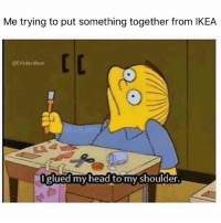 Dammit!!! I suck 😬 Follow @erikdavidson for more comedy 🙌🏼: Me trying to put something together from IKEA  @Erikdavidson  glued my head to my shoulder. Dammit!!! I suck 😬 Follow @erikdavidson for more comedy 🙌🏼