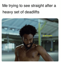 ✨ ✨ ✨: Me trying to see straight after a  heavy set of deadlifts  IG: @thegainz ✨ ✨ ✨