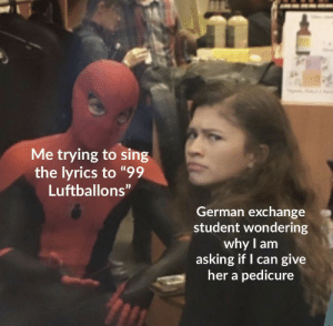 "The song moves quickly: Me trying to sing  the lyrics to ""99  Luftballons""  German exchange  student wondering  why I am  asking if I can give  her a pedicure The song moves quickly"
