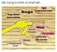 """Dogs, Memes, and Music: Me, trying to think of small talk.  Highly  Inappropriate memes  Dogs  Drug related  horror stories  Weed  Mental  illnesses  Fear of feeling  Useless serial  7  Music killer knowledge  Abandonment  issues <p>So…you ever feel dead inside? via /r/memes <a href=""""http://ift.tt/2rDbpfK"""">http://ift.tt/2rDbpfK</a></p>"""