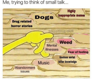 Life, Memes, and Music: Me, trying to think of small talk...  Highly  Inappropriate memes  Drug related  horror stories  Weed  ее  Mental  illnesses  Fear of feeling  Useless serial  Music killer knowledge  Abandonment  issues memes-r-memes:Me explaining my life to people