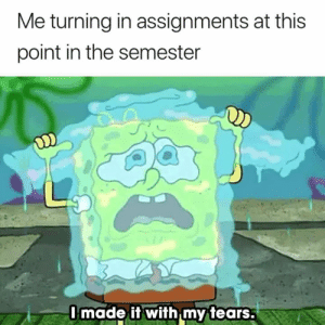 Tears, This, and At-This-Point: Me turning in assignments at this  point in the semester  Imade it with my tears 😭😭