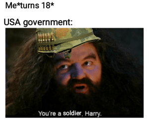 srsfunny:  no i don't think i am: Me*turns 18*  USA government:  You're a soldier, Harry. srsfunny:  no i don't think i am
