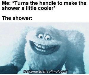 Memes I liked last week dump: Me: *Turns the handle to make the  shower a little cooler*  The shower:  Welcome to the Himalayas! Memes I liked last week dump