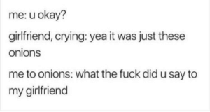 meirl by DiePowertitte FOLLOW 4 MORE MEMES.: me: u okay?  girlfriend, crying: yea it was just these  onions  me to onions: what the fuck did u say to  my girlfriend meirl by DiePowertitte FOLLOW 4 MORE MEMES.