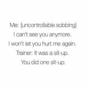 One, Did, and You: Me: [uncontrollable sobbingl  I can't see you anymore.  I won't let you hurt me again.  Trainer: It was a sit-up.  You did one sit-up.