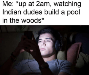 meirl: Me: *up at 2am, watching  Indian dudes build a pool  in the woods* meirl