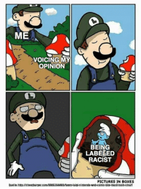 Funny, Nintendo, and Http: ME  VOICING MY  OPINION  BEING  LABELED  RACIST  PICTURES IN BOXES  Quelle: http://cheezburger.com/8805364480/funny-luigi-nintendo-web-comic-bite-mushroom-smurf A new template with versatility and great potential!! Get it while it's hot 🔥 via /r/MemeEconomy https://ift.tt/2xkdXAr