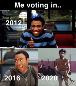 Showing up 30 minutes late because I was too busy looking at memes (Dump 12): Me voting in..  neroyiooking  2012  2020  2016 Showing up 30 minutes late because I was too busy looking at memes (Dump 12)