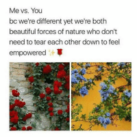 🌺🤜🏾✨🤛🏿🌼 Rp @chelywang_10: Me vs. You  bc we're different yet we're both  beautiful forces of nature who don't  need to tear each other down to feel  empowered 🌺🤜🏾✨🤛🏿🌼 Rp @chelywang_10