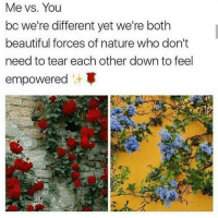 empowered: Me vs. You  bc we're different yet we're both  beautiful forces of nature who don't  need to tear each other down to feel  empowered