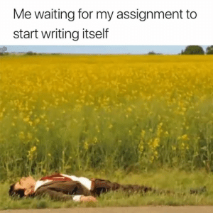 Waiting..., For, and Assignment: Me waiting for my assignment to  start writing itself