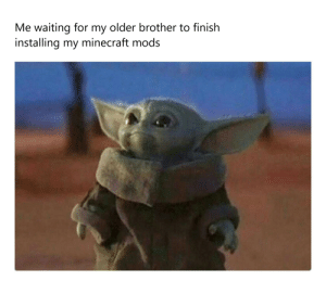 We've all been there: Me waiting for my older brother to finish  installing my minecraft mods We've all been there
