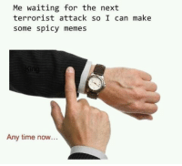 """Dank, Meme, and Memes: Me waiting for the next  terrorist attack so I can make  some spicy memes  Any time now... <p>. via /r/dank_meme <a href=""""http://ift.tt/2BsASwT"""">http://ift.tt/2BsASwT</a></p>"""