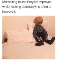 What do you mean I have to try? 😂: Me waiting to see if my life improves  whilst making absolutely no effort to  improve it What do you mean I have to try? 😂