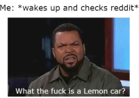 what the fuck: Me: *wakes up and checks reddit?*  What the fuck is a Lemon car?