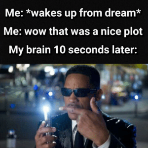 Wow, Brain, and MeIRL: Me: *wakes up from dream*  Me: wow that was a nice plot  My brain 10 seconds later: Meirl