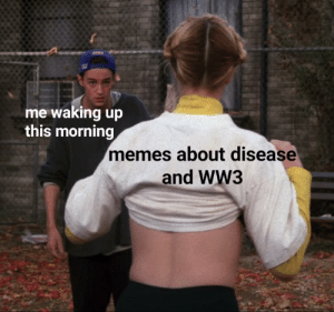 Guys pls CHILL: me waking up  this morning  memes about disease  and WW3 Guys pls CHILL