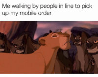 Mobile, Hood, and Order: Me walking by people in line to pick  up my mobile order 😩😂