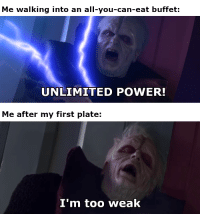 unlimited power: Me walking into an all-you-can-eat buffet:  UNLIMITED POWER!  Me after my first plate:  I'm too weakk