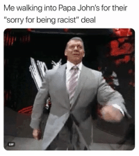 """Gif, Nfl, and Sorry: Me walking into Papa John's for their  """"sorry for being racist"""" deal  GIF 💀"""