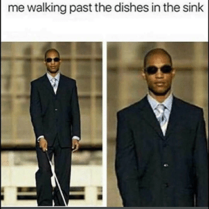 Me Walking: me walking past the dishes in the sink