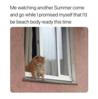 beach body: Me watching another Summer come  and go while l promised myself that I'd  be beach body ready this time