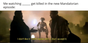 Figured I'd leave it blank in case some haven't seen it yet.: Me watching  episode:  get killed in the new Mandalorian  I don't like it. I don't agree with it. But I accept it. Figured I'd leave it blank in case some haven't seen it yet.