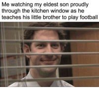 Football, Http, and Little Brother: Me watching my eldest son proudly  through the kitchen window as he  teaches his little brother to play football There's nothing better via /r/wholesomememes http://bit.ly/2UIMhOO