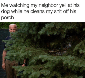 just Biden his time: Me watching my neighbor yell at his  dog while he cleans my shit off his  porch just Biden his time