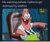 Memes, California, and Cigarette: Me watching pathetic California get  destroyed by wildfires  TIHI IU  @typicalterome  31 imagine getting rich, moving to Cali, and buying a mansion just to have it burn down cause some nigga dropped a cigarette 3 years ago
