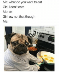 Memes, Girl, and 🤖: Me: what do you want to eat  Girl: I don't care  Me: ok  Girl: ew not that though  Me: Don't follow @drgrayfang if you're easily offended 😂