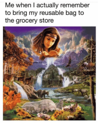 Text, Girl Memes, and Why: Me when I actually remember  to bring my reusable bag to  the grocery store  e to enter text Literally has yet to happen. Why do I even bother buying them...? 🤷🏼♀️
