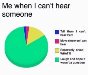 Meirl: Me when I can't hear  someone  Tell them can't  hear them  Move closer so I can  hear  Repeatedly shout  WHAT?!  Laugh and hope it  wasn't a question Meirl