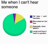 Dank Memes, Hope, and Can: Me when I can't hear  someone  Tell them I can't  hear thenm  Movo closer so I can  hear  Repoatodly shout  WHAT?!  Laugh and hope it  wasn't a question