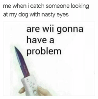 Nasty, Wii, and Dog: me when i catch someone looking  at my dog with nasty eyes  are wii gonna  have a  problem Nasty