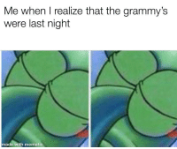 Grammys, The Grammys, and Last Night: Me when I realize that the grammy's  were last night  made with mematic I actually didn't know though