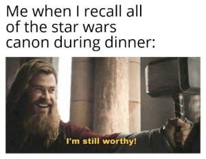 Star Wars, Canon, and Star: Me when I recall all  of the star wars  canon during dinner:  I'm still worthy! Anyone else done this?