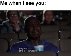 Everyone needs a uplifting meme: Me when I see you:  [crying]  IT'S SO BEAUTIFUL. Everyone needs a uplifting meme